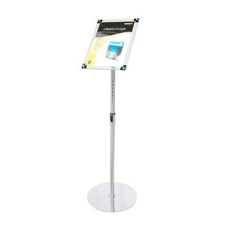 Acrylic Sign Floor Stand A4 Clear With Chrome Pole And