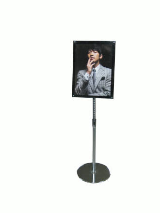 Acrylic Floor Stand A3 Clear Black With Chrome Pole And
