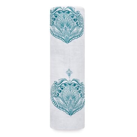 Aden + Anais Muslin Swaddle Single - Paisley - Teal