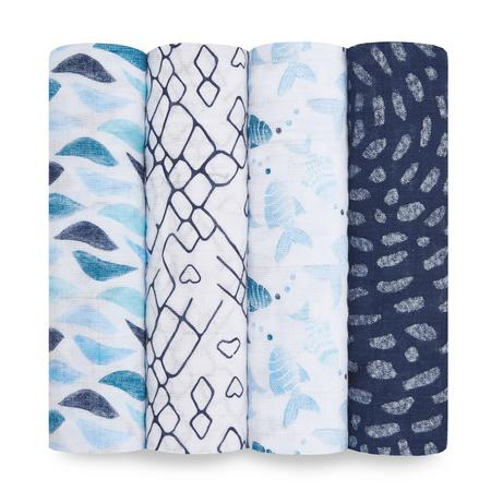 Aden + Anais Muslin Swaddles 4pk - Gone Fishing