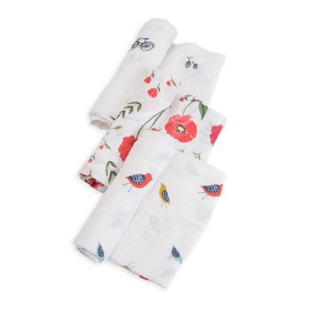 Little Unicorn 3pk Cotton Muslin Swaddle - Summer Poppy