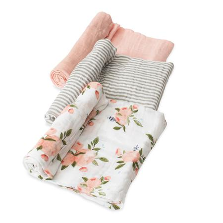 Little Unicorn 3pk Cotton Muslin Swaddle - Watercolour Roses