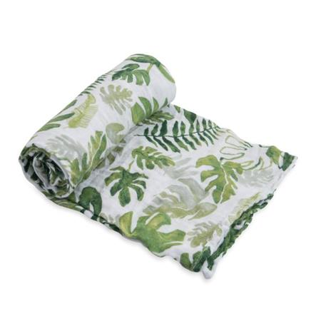 Little Unicorn Single Cotton Muslin Swaddle - Tropical Leaf