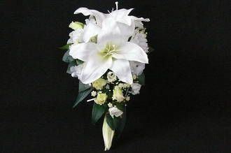 White Casablanca Lily & White Rose Trailing Bouquet