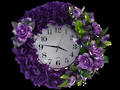 Purple Silk Flower Clock