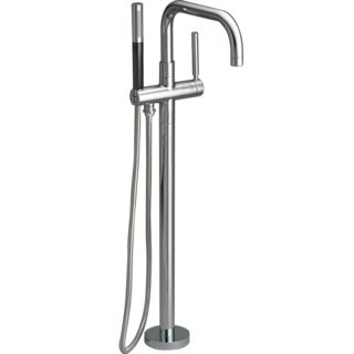 Purist Floor Mount Bath Filler with Mounting Plate Polished Chrome