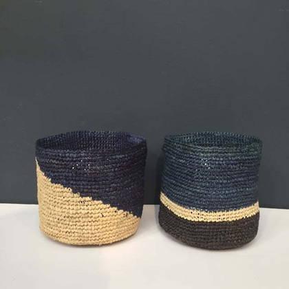 Medium Raffia baskets from Madagascar - set of 2 Blue