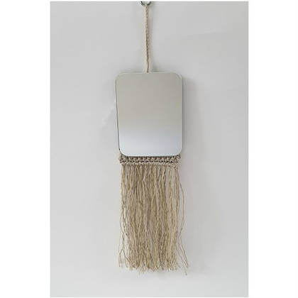 Fringe Mirror - natural embroidered fringe (sold out)