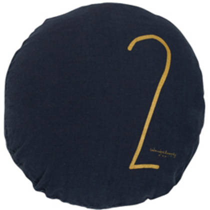 Bed & Philosophy pure linen Round 'Number' cushion in Charbon (available to order)