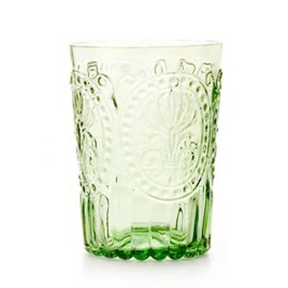 Fleur de Lys Light Green Glass tumbler - set of 4 (out of stock)