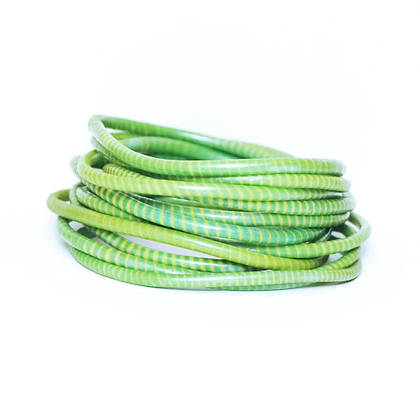 Jokko Bracelets from Mali Africa - set of 6 Green Yellow