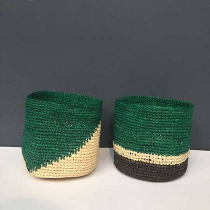 Medium Raffia baskets from Madagascar - set of 2 Green