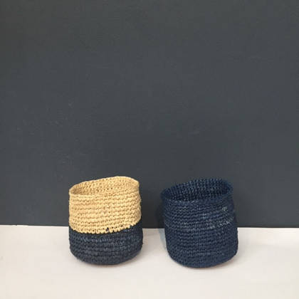 Small Raffia baskets from Madagascar - set of 2 Blue