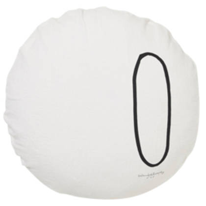 Bed & Philosophy pure linen Round 'Number' cushion in Plume (available to order)