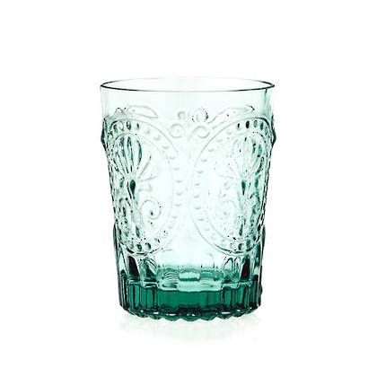 Fleur de Lys Light Blue Glass tumbler - set of 4 (available to order)
