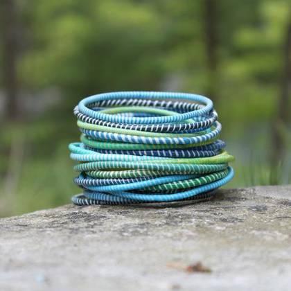 Jokko Bracelets from Mali Africa - set of 6 Turquoise