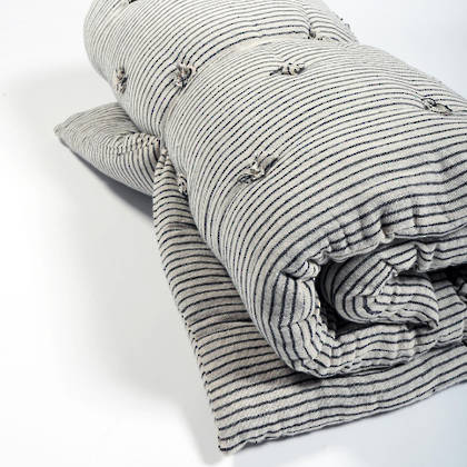 French cotton tufted mattress - Rayures Encre (sold out)
