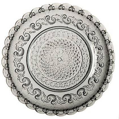 Fleur de Lys Grey Large Plate