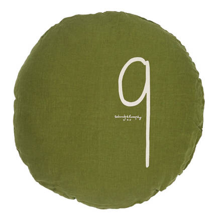 Bed & Philosophy pure linen Round 'Number' cushion in Jungle (available to order)