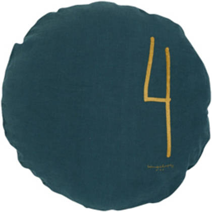 Bed & Philosophy pure linen Round 'Number' cushion in Greenday (available to order)