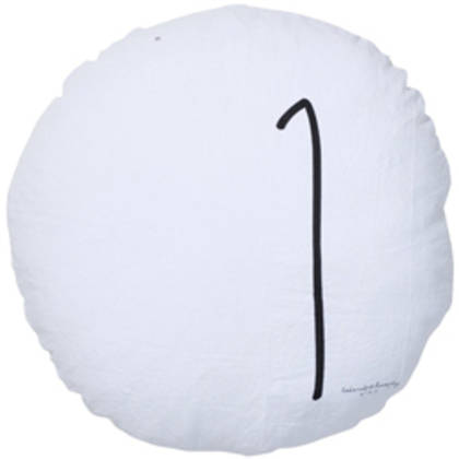 Bed & Philosophy pure linen Round 'Number' cushion in White
