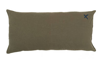 Large Pure linen Lovers cushion in Kaki 55 x 110cm (available to order)
