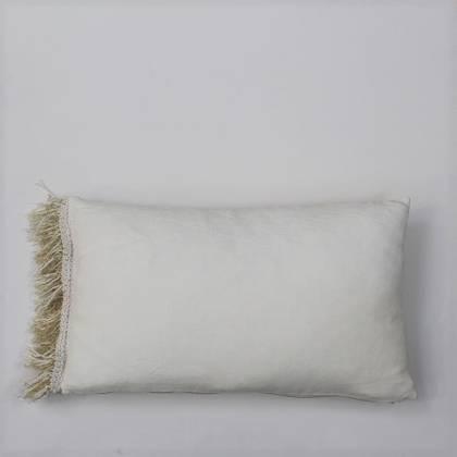 Livette Vintage Linen Natural Fringe 30x50cm Cushion