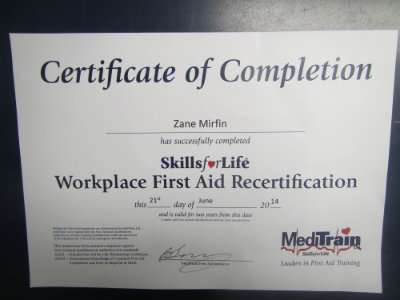 0022 First Aid Certificate 2014 400