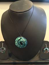 Paua Shell Inlaid Necklace and earring set