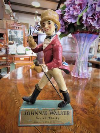 Vintage Rare Johnny Walker Advertising Bar Figure Wooden